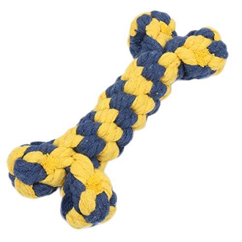 Kentop Juguete Mordedor Cuerda con Bolas para Perro Cachorro Mascota Juguete Interactivo para Masticar Juguetes Huesos Cuerda de algodón Material 16 CM Color Aleatorio (1 Pieza)