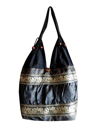 Schultertasche aus Baumwolle / Seide mit Elefanten, Blumen und Kringel Muster, schwarz, 30 x 15 x 27 cm (l x b x h), Gesamthöhe: 60 cm (Tasche Blumen-seide)