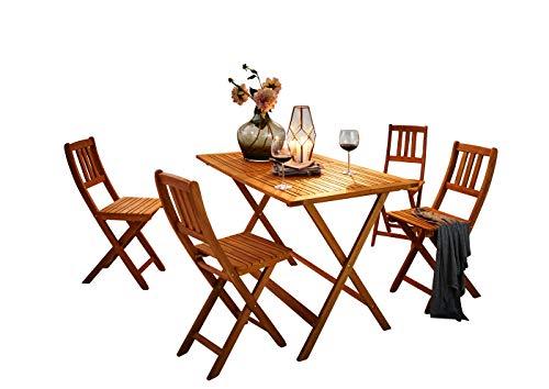 SAM® Gartengruppe Costas, 5tlg., Balkongruppe aus Akazienholz, FSC® 100% zertifiziert, 1 x Tisch + 4 x Stuhl, geölt, Garten-Tischgruppe, massive Sitzgruppe aus Akazie