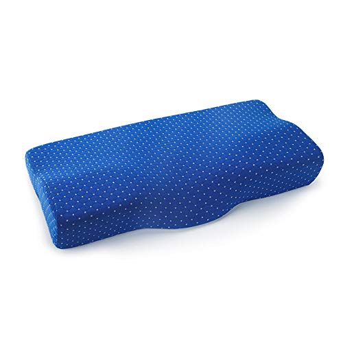 JFJL Memory Foam-Kissen,Zervixkissen Gegen Nackenschmerzen, Kopfkissen,Seitenschläferkissen,Orthopädische Konturkissen Mit Waschbarem, Atmungsaktivem Bezug,Blue