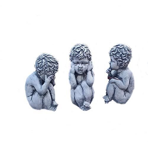 Steinfigur 3er Set Engel Kinderfigur Die Drei Weisen Skulptur Gartenfigur Steinguss