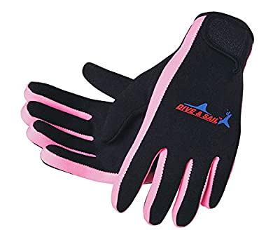 Dive & Sail 1.5mm Neoprene Skid-proof Surfing Snorkeling Kayaking Diving Gloves S# (Pink) by XINJIATIYU