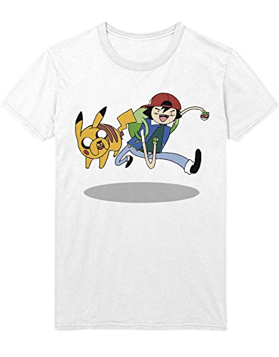 T-Shirt Poke Go Mashup Finn and Jake Hype Kanto X Y Blue Red Yellow Plus Hype Nerd Game C980106 Weiß L