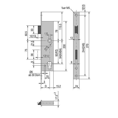 WSS Rohrrahmen-Schloss | Dornmaß: 45 mm | Stulpe 270 mm flach Edelstahl | 1 Stück -