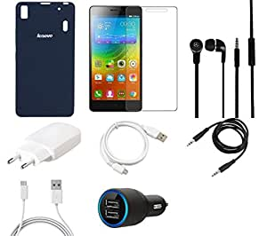 NIROSHA Tempered Glass Screen Guard Cover Case Charger Headphone USB Cable for Lenovo K3 Note - Combo