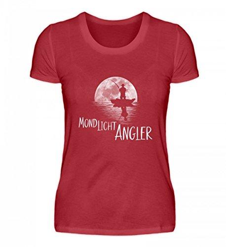 Shirtee Hochwertiges Damen Organic Shirt - Mondlicht Angler Vollmond Angeln Fischen Dunkelrot