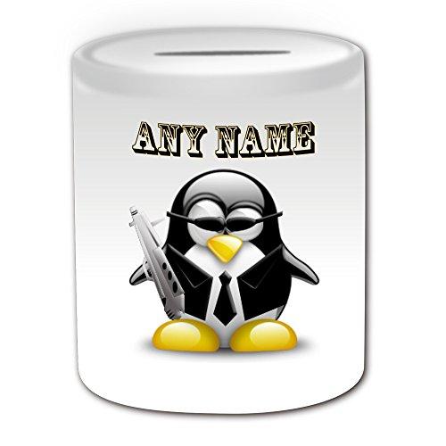 007 Girl Kostüm - Personalisiertes Geschenk-Spy Agent Spardose (Design Pinguin in Kostüm Thema, weiß)-alle Nachricht/Name auf Ihre einzigartige-Cool Gun 007