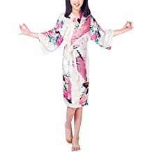 PrettyCos Ninos Bata de Bano Pijamas de Seda Suave Ropa de Dormir con bonita impresion Bata de Casa Albornoz Para Ninos