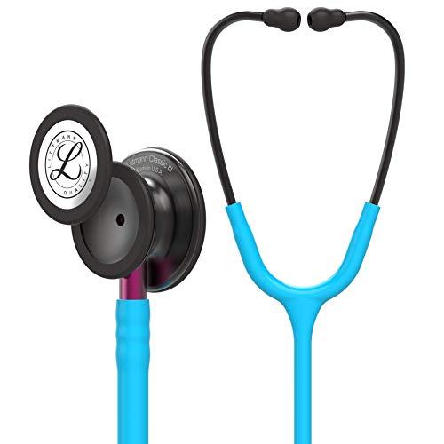 3M Littmann Classic III Stethoskop zur Überwachung, Smoke-Edition Bruststück, türkisfarbener Schlauch, pinkfarbener Schlauchanschluss und rauchfarbener Ohrbügel, 69cm, 5872 -