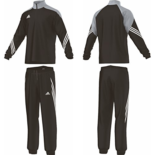 adidas Jungen Trainingsanzüge Boys Tracksuit Woven Sereno14 Boys Presentation Football Training Suit Black/Silver/White 7-15 Years (116cm) (Side Panel Lock)