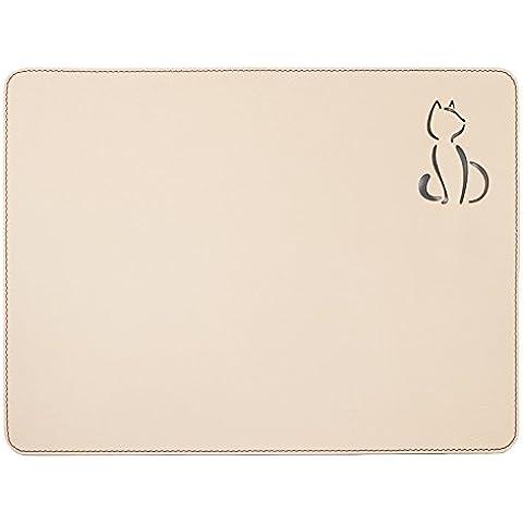 Tovagliette, colore: bianco, 40x 30cm, tovagliette, Gatto Bianco Tovaglietta, casa e regalo per gli amanti degli animali, in pelle riciclata, nuova casa regalo
