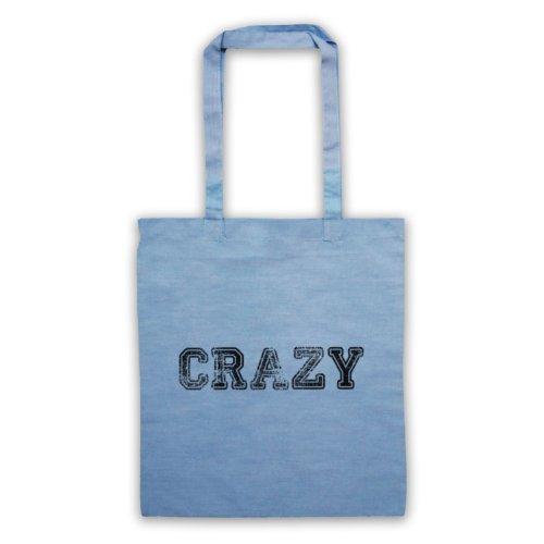 Funny Slogan Tote Bag Crazy Azzurro