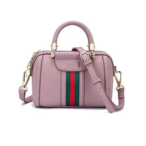 Yany Damentasche Mode PU Tragbare Schulter Diagonale Tasche Casual Wild Boston Hit Farbband Handtasche Handtasche Weiblich (Color : Pink) - Schwarz-marken Farbband
