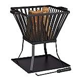 Relaxdays Feuerkorb XL mit Schürhaken, Terrasse u. Garten Feuerschale mit Unterlage, für Holz, HBT 56x56,5x45cm, schwarz