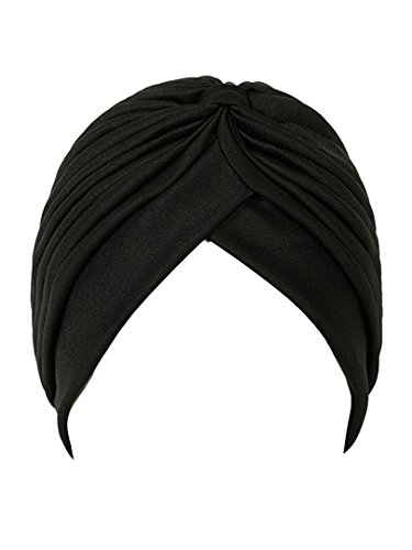 CASTO Women's Polyester Pleated Head Wrap Turban(Women Turban-01_Black_Free Size)