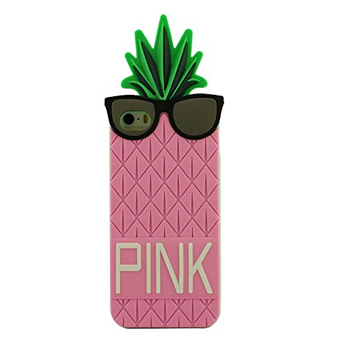 Mode Apple iPhone 5 SE 5S 5G Coque Housse de Protection Protective Case silicone Souple Doux Fruit Ananas 3D Forme Unique Individualité Conception Divers Couleur Rose