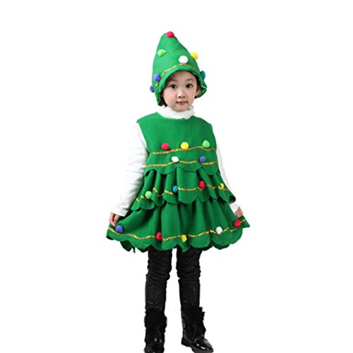 Longra Kleinkind Kinder Baby Mädchen Weihnachtsbaum Kostüm Kleid Tops Party Weste + Hut Outfits Kinder Weihnachtsbaum Karneval Party Kleid (105-115CM 4Jahre, Green)