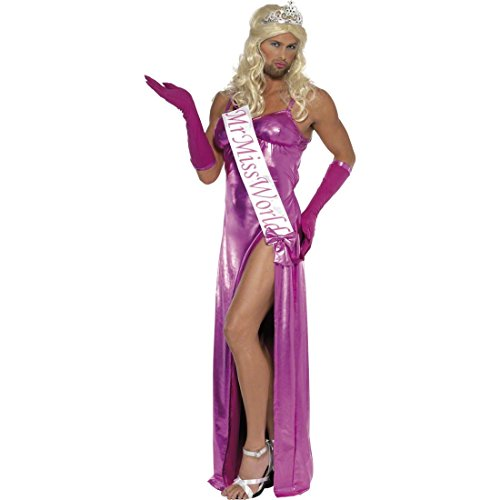 Amakando Herren Kleid Miss World Travestie Kostüm Schönheitskönigin M 48/50 Travestie Abendkleid Junggesellenabschied Herrenkostüm Drag Queen Männerballett JGA Verkleidung (Miss World Kostüm)