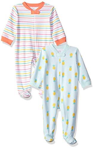Amazon Essentials 2-Pack Sleep Play infant-and-toddler-sleepers, Girl Fruit, Preemie - Preemie Kleidung