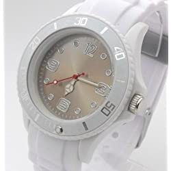 White/Grey Ladies/Girls Silicone Watch. 38mm Dial. 16-21cm Strap. Rotating Bezel