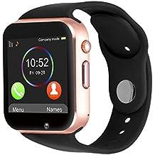 Reloj inteligente Kivors con Bluetooth y ranura para tarjeta SIM para usar como teléfono móvil. Reloj deportivo con rastreador de actividad, podómetro inteligente, compatible con Android/iOS , Gold Black