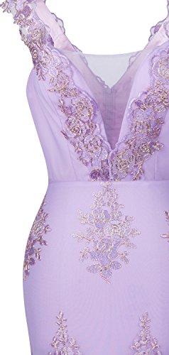 Angel-fashions Femme Cou v Broderie Dentelle Fleur Les bretelles Robe sirene Prune