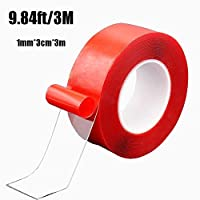 Nano Tape Traceless Washable Adhesive Tape Reusable Nano Tape Double-Sided Removable Tape for Home Wall Room Office Decor Phones Pictures Household (red, 1mm*3cm*3m)