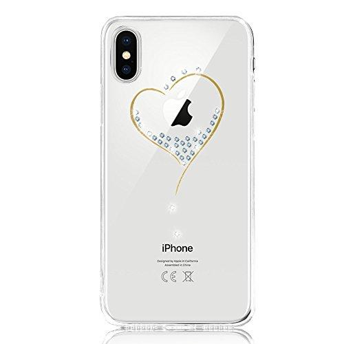 DAPP iPhone X Hülle, Dolce Vita Serie Transparente Silikon Handyhülle für Damen/Mädchen, Durchsichtig mit Glitzer Kristall Herz Motiv