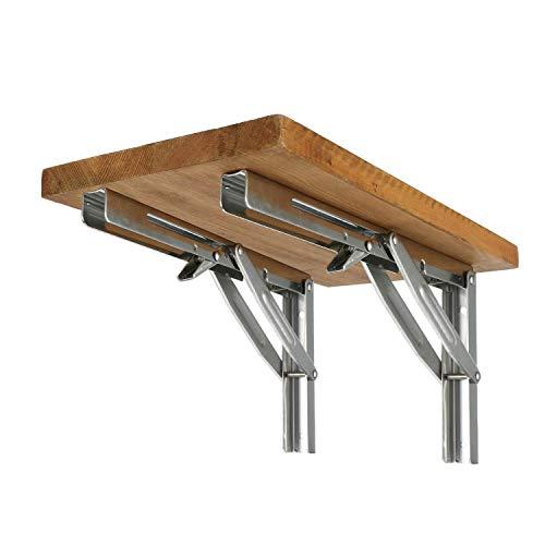 FreeTec Klappkonsole Schwerlastträger Wandhalter aus poliertem Edelstahl für Tische, Bänke und Regale, Tragkraft: 250 kg (2 PCS)