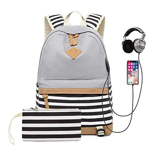Schulrucksack Mädchen Teenager Canvas Rucksack, Damen Multifunktional Daypacks Laptop Rucksack 15.6 Zoll mit USB Port, für Schulen, Tourismus, Freizeit (Grau) -