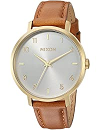 Nixon Women's 'Arrow Leather' Quartz Stainless Steel Casual Watch, Color: Brown (Model: A10912621-00)