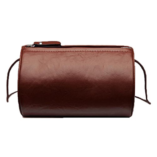 Schulter Runde Handtaschen Retro Einfache Korea Korea Messenger Mini Zylindrische Pack,Red Brown
