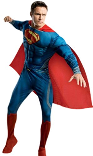 Karnevalsbud - Herren Superman Kostüm, Karneval, Fasching, M, Blau-Rot