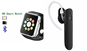 MIRZA Smart Watch & Bluetooth Headset for GIONEE PIONER P4S(HM1100 Bluetooth Headset & A1 Smart Watch Phone with Camera & SIM Card Support Hot Fashion New Arrival Best Selling Premium Quality Lowest Price with Apps like Facebook,Whatsapp, Twitter, Sports, Health, Pedometer, Sedentary Remind,Compatible with Android iOS Mobile Tablet-Silver Color)