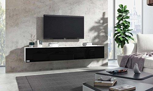 Wuun TV Board hängend/8 Größen/5 Farben/160cm Matt Weiß- Schwarz-Hochglanz/Lowboard Hängeschrank Hängeboard Wohnwand/Hochglanz & Naturtöne/Somero