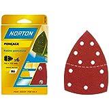 Norton Lot de 6 Patins multi-ponceuse perfores auto agrippants 102 x 152 Grain 80