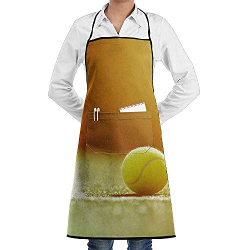 Pillowcase Wholesale Tennis Grass Court with Sunlight Novelty 3D Print Water Resistant Polyester Kitchen Apron with Big Pockets Machine Washable Easy Care Twill Sewing Bib Apron for Cooking BBQ Party