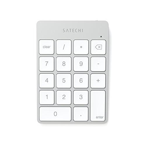 Satechi estensione tastiera tastierino 18 tasti wireless Bluetooth in alluminio portatile sottile per inserimento dati Excel e numeri per iMac, Macbook, Macbook Pro, laptop, postazioni di lavoro (Argento)