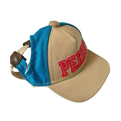 Creatwls Baseball Cap für Pets Leinwand Sunproof Visor Cap mit Ohrenaussparung Hunde Reisen Hüte für Welpen und Katzen, Kaninchen (Boston Terrier Halloween Kostüme)
