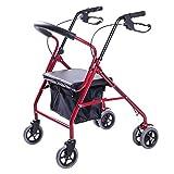 Rollator a rotelle a quattro ruote pieghevoli Lennov con sedile imbottito e borsa per il trasporto, freni con serratura, maniglie ergonomiche (rosso)