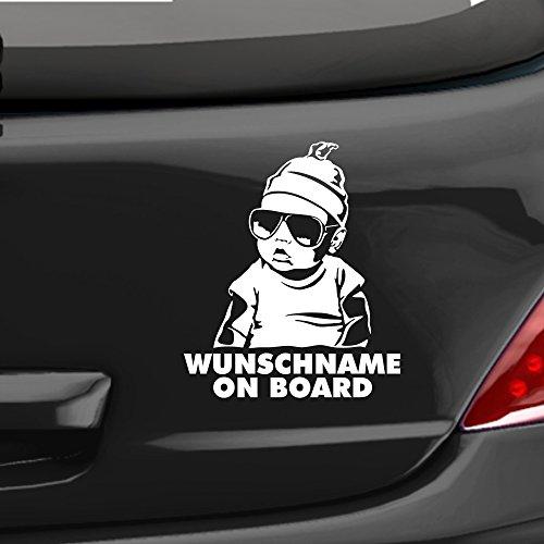 eDesign24 Autoaufkleber Hangover Baby on board Wunschname Auto Aufkleber Sticker fährt mit ca. 18 x 22 cm weiß