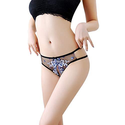 K-Youth® Lencería Sexy para Mujer Bragas Mujeres Perspectiva Bordado  Entrepierna Abierto T Tanga c5d695834fb7