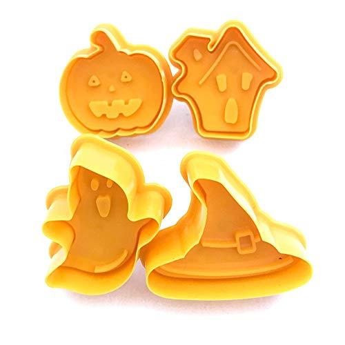 DD Backen Omelett Knödelform Neue 4 Stücke Halloween Cookie Stempel Keksform Cookie Plunger Cutter Diy Backformen Kuchen Dekorieren Tools, A (Cutter Cookie Dichtung)