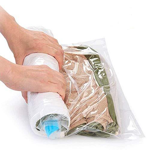 Kitclan 8 Stück Vakuumbeutel, 4 * 60x40cm und 4 * 70x50cm in Rollen per Hand verpackter Aufbewahrungsbeutel ideal für Reise und Kleidung, Decken, Handtücher, keine Pumpe benötigt