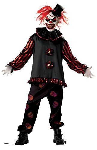 Mens Carver the Killer Clown Circus Horror Halloween Fancy Dress Costume Large