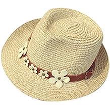 Moollyfox Mujer Sombrero de Playa con Visera Verano Pamelas de Paja Moda  Beige 6e879742869