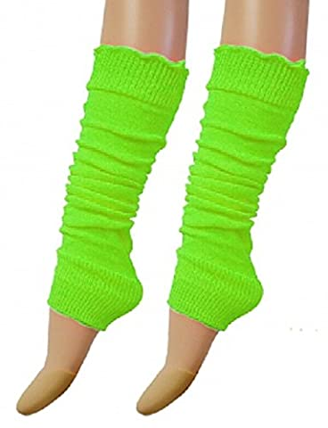 ANGIES FASHION CHILDREN GIRLS PLAIN RIBBED KIDS LEG WARMERS LEGWARMER TUTU FANCY DRESS PARTY COSTUME (Neon Green)