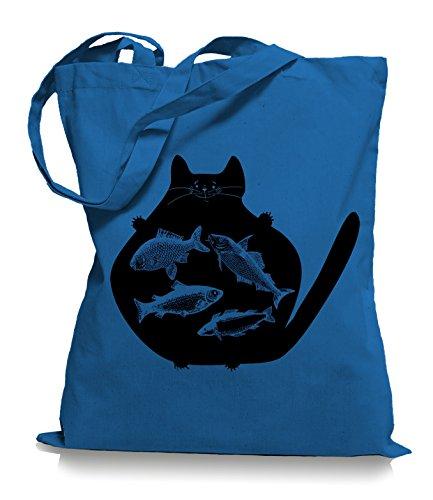 Cat Fish Stoffbeutel | Katzen Fisch Tragetasche Fische Katze Cornflower Blue
