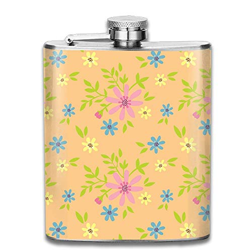 Stainless Steel Hip Flask 7 Oz (No Funnel) Ditsy Floral Full Printed