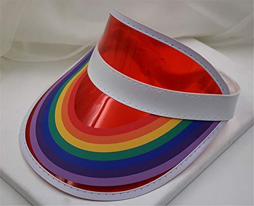 Sonnenkappe Poker Visor-Cap Retro Schildkappe im Freien Sonnenhüte Hut für Damen und Herren,Leerer transparenter Süßigkeitfarben-PVC-Hut des Spitzenhutes Anti-UVsonnenhut im Freien, rot
